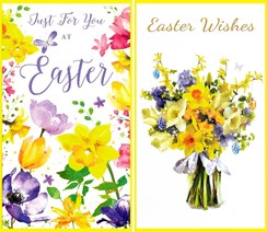 "Set Of 2 Happy Easter Greetings Card - Daffodils and Tulips 6"" x 3.25"""