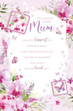 """Mum Birthday Card with Double Page Verse Insert - Pink Floral and Foil 10x7"""""""