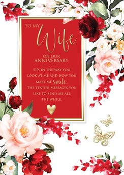Wife Wedding Anniversary Card 6 Page Verse Insert with Gold Foil 10x7""