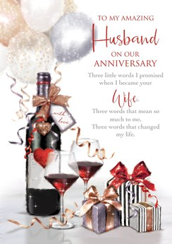 """Husband Anniversary Card - Red Wine Bottle Glasses with Embossed Foil 10x7"""""""