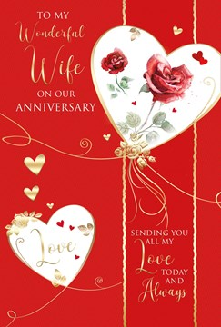 Wife Anniversary Card - Red Roses in Hearts with Gold Embossed Foil 9x6""
