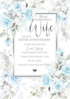 """Wife 25th Silver Anniversary Card 6 Page Verse Insert with Gold Foil 10x7"""""""