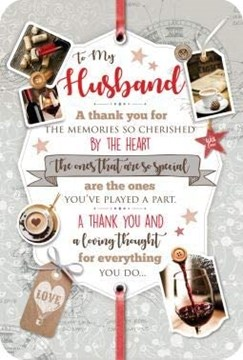 """Husband Birthday Card with Verse - Red Wine and Coffee with Gold Foil 9x6"""""""