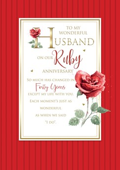"""Husband 40th Ruby Anniversary Card 6 Page Verse Insert with Gold Foil 10x7"""""""