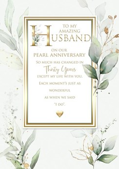 """Husband 30th Pearl Anniversary Card 6 Page Verse Insert with Gold Foil 10x7"""""""