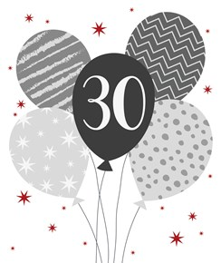 """30th Birthday Card - 30 & Grey & Silver Foil Balloons with Red Stars 7.25"""" x 6"""""""