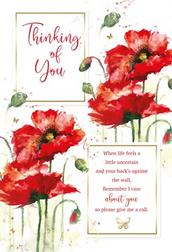 """Thinking of You Card - Red Poppy's with Gold Embossed Foil 9x6"""""""