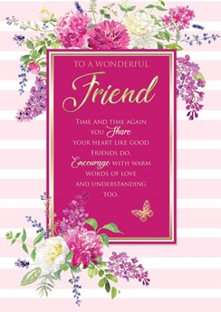 """Wonderful Friend Birthday Card with 6 Page Verse Insert - Floral Gold Foil 10x7"""""""