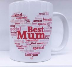 Best Mum Heart Personalised White 11oz Mug - Birthday, Mother's Day, Xmas Gift