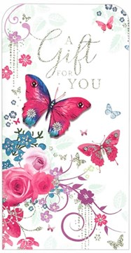 """Money Wallet Gift Card & Envelope - Butterflies Flowers and Silver Foil 7""""x3.5"""""""