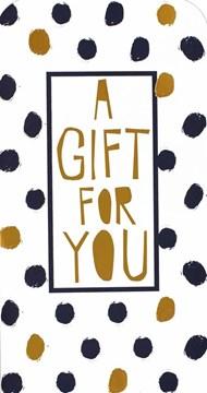 "Money Wallet Gift Card & Envelope - Black Spots & Gold Metallic Text 7"" x 3.5"""