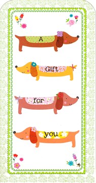 "Money Wallet Gift Card & Envelope - Sausage Dogs with Flowers 7"" x 3.5"""