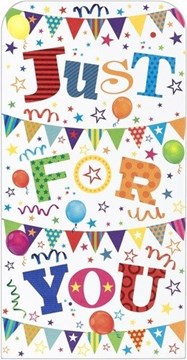 """Money Wallet Gift Card & Envelope - Bright Coloured Text Bunting Balloons 7x3.5"""""""
