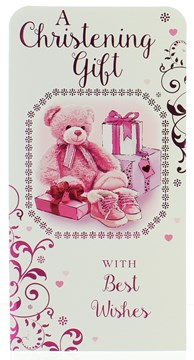 Money Wallet Gift Card & Envelope - Christening Girl  With Pink Foil  7x3.5""