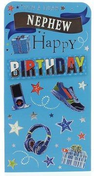 Money Wallet Gift Card & Envelope Nephew Blue With Trainers Silver Foil 7x3.5""