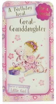 Great Granddaughter Birthday Money Wallet Gift Card & Envelope with Glitter Foil