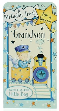Money Wallet Gift Card & Envelope - Grandson Young Boy in Train with Foil 7x3.5""