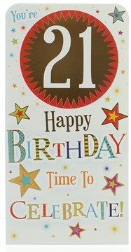 Money Wallet Gift Card & Envelope - 21st Birthday With Gold Foil 7x3.5""