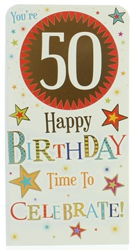 Money Wallet Gift Card & Envelope - 50th Birthday With Gold Foil 7x3.5""