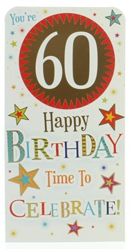 Money Wallet Gift Card & Envelope - 60th Birthday With Gold Foil 7x3.5""