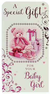 Money Wallet Gift Card & Envelope - New Baby Girl With Pink Foil  7x3.5""