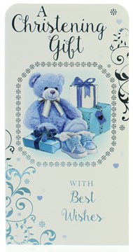"Money Wallet Gift Card & Envelope - Christening Boy With Blue Foil  7x3.5"""
