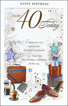 "Age 40 Male Birthday Card - 40 Today Brown Briefcase, Coffee & Shoes 10.75"" x 7"""