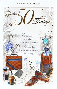 """Age 50 Male Birthday Card - 50 Today Brown Briefcase, Coffee & Shoes 10.75"""" x 7"""""""