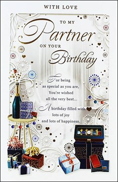 "Partner Birthday Card - Happy Birthday Watch Box, Wine & Presents 10.75"" x 7"""