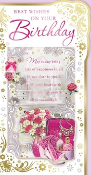 "Open Female Birthday Card - Pink Flower Vase Cosmetic Bag with Foil 9""x4.75"""