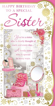 "Sister Birthday Card - Pink High Heels, Mobile Phone, Make Up & Roses 9"" x 4.75"""