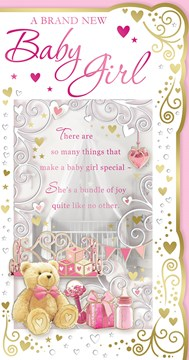 "Birth Of Baby Girl Greetings Card -A Teddy & Baby Gifts With Gold Foil  9""x4.75"""
