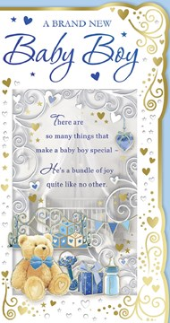 "Birth of Baby Boy Greetings Card - Teddy Bottle & Toys with Gold Foil 9"" x 4.75"""