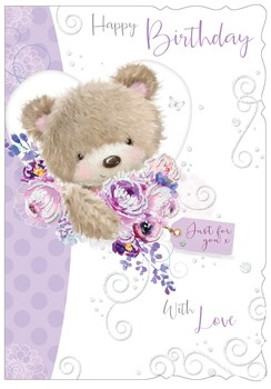 """Open Female Birthday Card - Cute Brown Bear Lilac Flowers and Glitter 7.75x5.25"""""""