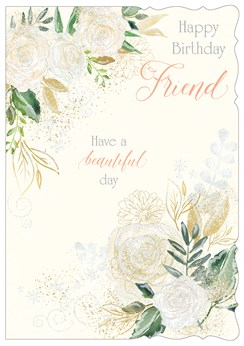 "Special Friend Birthday Card - Roses With Leaves & Glitter  7.75""x5.25"""