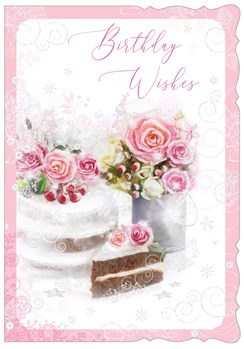 """Open Female Birthday Card - Pink Roses Decorated Cake and Glitter 7.75""""x5.25"""""""
