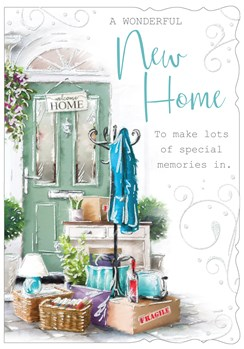 "New Home Greetings Card - Green Front Door with Welcome Home Sign 7.75""x5.25"""