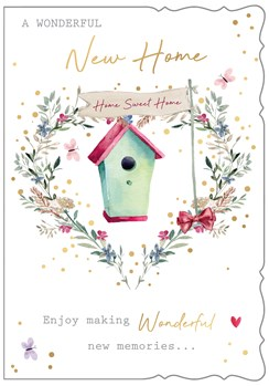 New Home Greetings Card - Bird House in Floral Heart with Gold Foil 7.75x5.25""