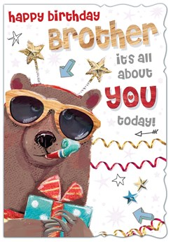 "Brother Birthday Card - Brown Bear, Glasses, Present & Streamers 7.75"" x 5.25"""