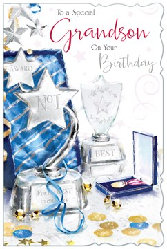 """Grandson Birthday Card - Silver Trophies With Stars & Glitter 9""""x6"""""""