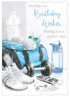 """Open Male Birthday Card - Gym Bag With Glitter  7.75"""" x 5.25"""""""