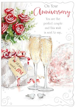 "Open Wedding Anniversary Card - Champagne Flutes Roses with Glitter 7.75""x5.25"""