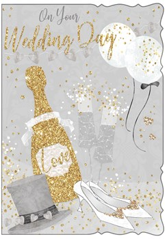 """Wedding Day Greetings Card - Champagne, Heels, Hat Balloons & Glitter 7.75x5.25"""""""