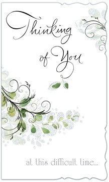 """Thinking of You Card - Green Leaves with Glitter Scalloped Edge 9"""" x 5.25"""""""
