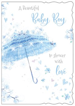 Birth Of Baby Boy Greetings Card Blue Umbrella Flowers Hearts Glitter 7.75x5.25""