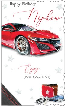 "Nephew Birthday Card - Red Sports Car With Keys & Wallet 9"" x 5.25"""
