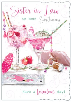 Sister-in-Law Birthday Card - Pink Gin Cocktails Phone with Glitter 7.75x5.25""