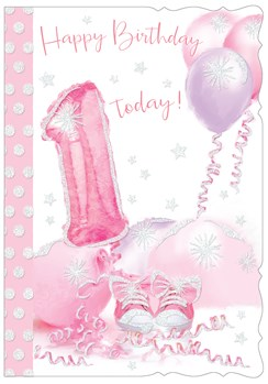 """1st Birthday Card - 1 Today with Pink & Purple Balloons & Glitter 7.5"""" x 5.25"""""""