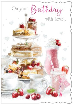 Open Female Birthday Card - Afternoon Tea with Strawberries & Glitter 7.75x5.25""