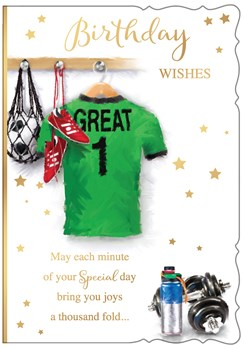 """Open Male Birthday Card - Green Football Shirt and Weights Gold Foil 7.75x5.25"""""""